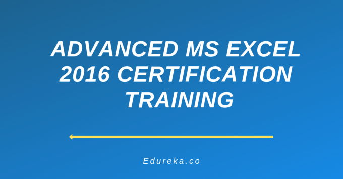 Advanced MS Excel 2016 Certification